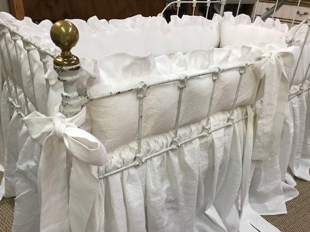 White Washed Linen Artisan Nursery-Ruffled Bumpers-Gathered Crib Skirt-Ruffled Crib Blanket-Classic Washable Baby Bedding-Couture Nursery