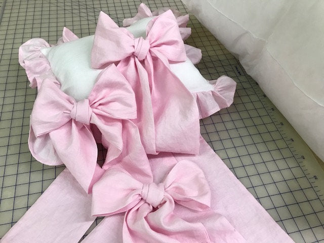 Casual Style Washed Linen Crib Bedding-Storybook Crib Skirt--Set of Three Over Sized Crib Bows/Sashes