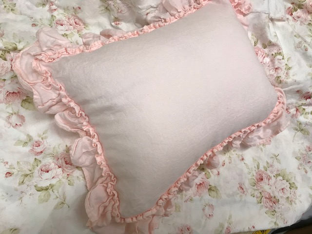 Double Hemmed Ruffle Crib Pillow in Washed Linen-Zip Closure-Removable 12x16 Pillow Insert Included-Nursery Gift-Couture Nusery Linens