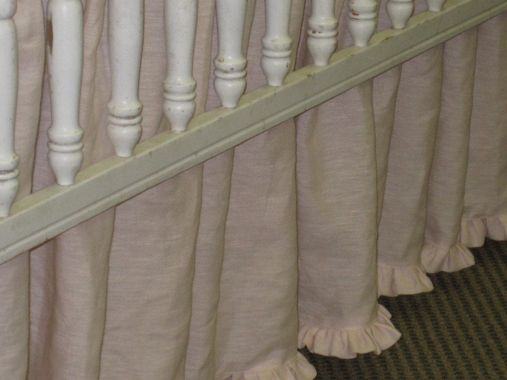 "Slightly Gathered Crib Skirt in Washed Linen with 1"" Ruffled Hem"