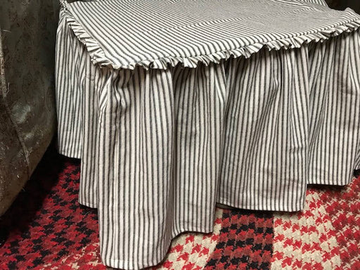 Ruffled Top Ottoman Slipcover in Black and Cream Washed Ticking Fabric-Large Ottoman Slipcover