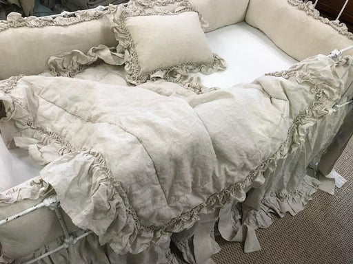 Couture Crib Bedding-Crib Skirt-Crib Blanket-Crib Pillow-All Pieces with Hemmed Double Ruffle Detail-Washed Linen in Oatmeal Handkerchief
