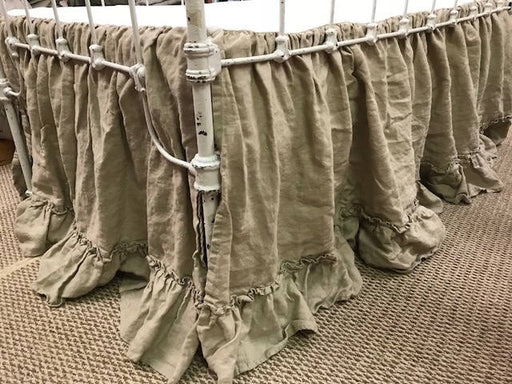 Washed Linen Nursery Bedding in Pebble--Hemmed Double Ruffle Gathered Crib Skirt-Crib Pillow with Insert