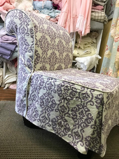 SLIPCOVER SEWING-Local Clients-Armless Chair Slipcover using Fabric Provided by Client-Tailored Slipcover with Covered Cording Detail