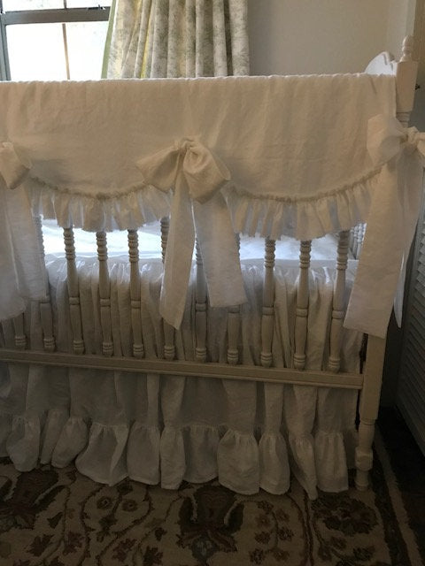 White Washed Linen Crib Skirt and Rail Coverlet-Sash Ties-Ruffled Crib Skirt-Rail Coverlet with Torn Ruffle Shabby Design-Couture Nursery