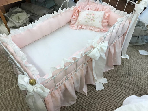 Romantic Baby Girl Nursery Linens in Soft Pink and Vintage White-Rose Floral Crib Pillow-Ruffled Bumpers-Storybook Crib Skirt-3 Crib Bows