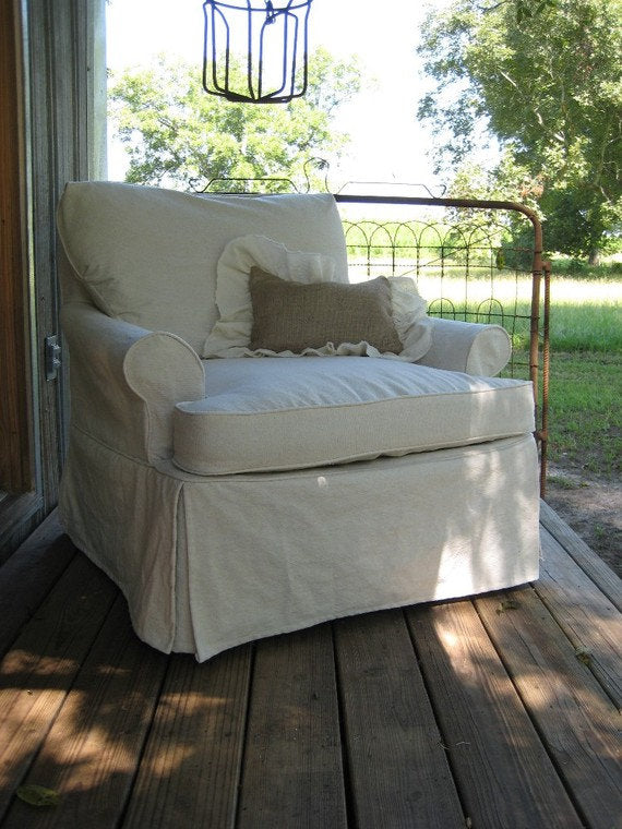 Custom Slipcovers-Washed Cotton Duck Slipcovers-Classic Fitted Slipcovers-Covered Cording