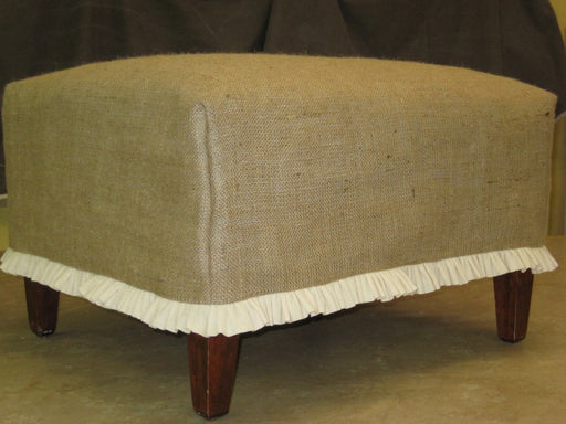 Burlap or Washed Linen Slipcover for your Ottoman-Custom Slipcover-Custom Sewing for your Home-Footstool Slipcover -Classic Slips