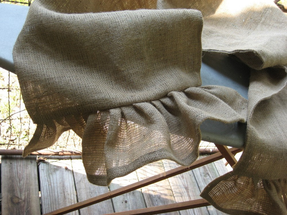 Ruffled Natural Burlap Table Runner---Natural Burlap Self-Lined Table Runner with Long Ruffed Ends-Made to Order Custom Ruffled Table Runner