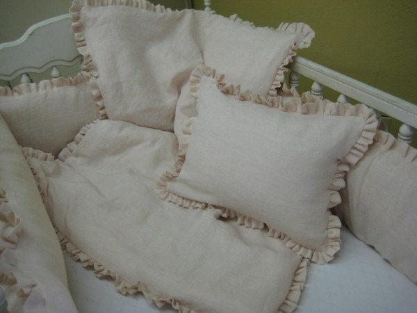 Crib Pillowslip in Washed Linen-Zip Closure Allows for Monogram-Includes Removable Pillow Insert Form