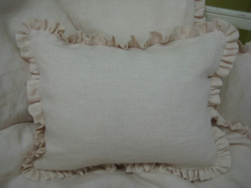 "Ruffled Crib Pillow in Linen-With or Without Pillow Insert-12"" x 16"" with 1"" Ruffle ---Crib Size Pillow Sham"