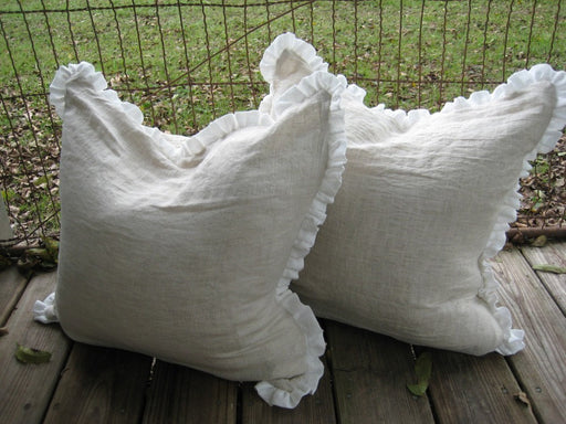 "Pair of Pillow Slipcovers in Washed Linen-1"" Ruffled Detail-Two Pillow Shams-18x18 shown in photos-Other Sizes Available"
