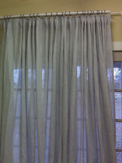 Open Weave Linen Drapery Panels-One Pair of Pleated Sheer Linen Drapery Panels-Unlined Linen Drapes