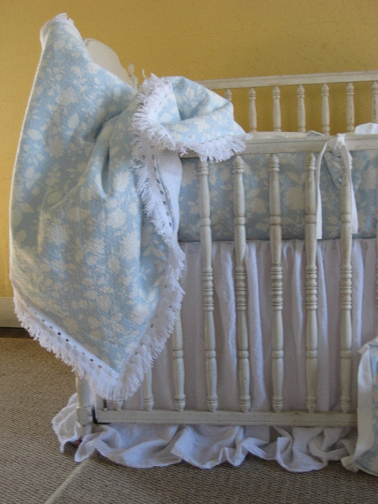 Ruffled Linen Crib Duvet with Finished Separate Removable Blanket Insert - Crib or Toddler Duvet and Insert