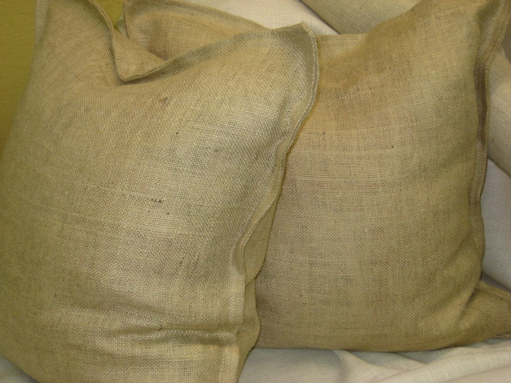 Pair of Tailored Euro Shams in Burlap-Classic Euro Shams in a Tailored Design-Burlap Euros-Washed Linen Euro Shams