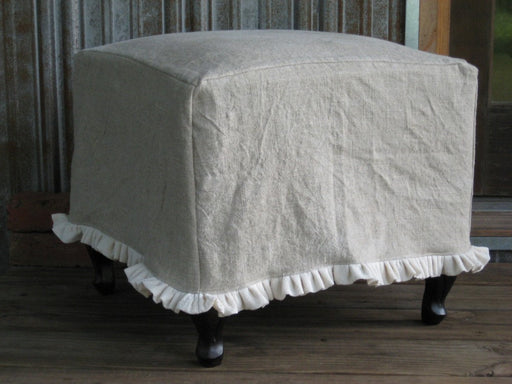 Ruffled Washed Linen Slipcover for your Large Ottoman---Ottoman Slipcover with Small Ruffled Hem