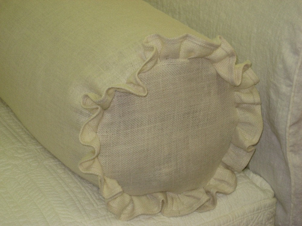"Burlap or Washed Linen Bolster Pillow Slip-One Bolster Cover 8"" Diameter x 36"" Length"
