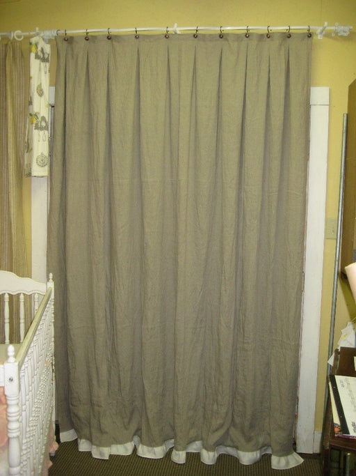 Natural Flax Linen Shower Curtain-Optional Ruffled Hem
