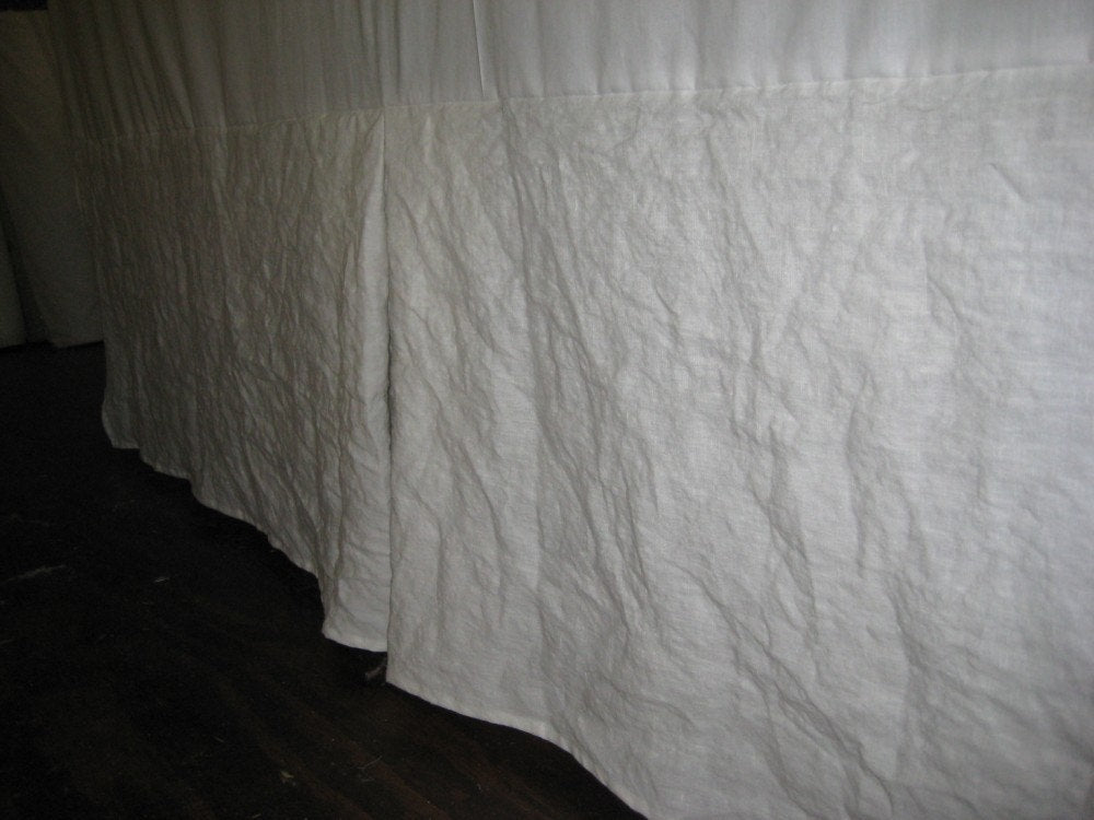 Tailored Bedskirt in Washed Oatmeal Linen-Washed Linen Queen Bed Skirt-Pleated Bed Skirt-Casual Tailored Bed Skirt