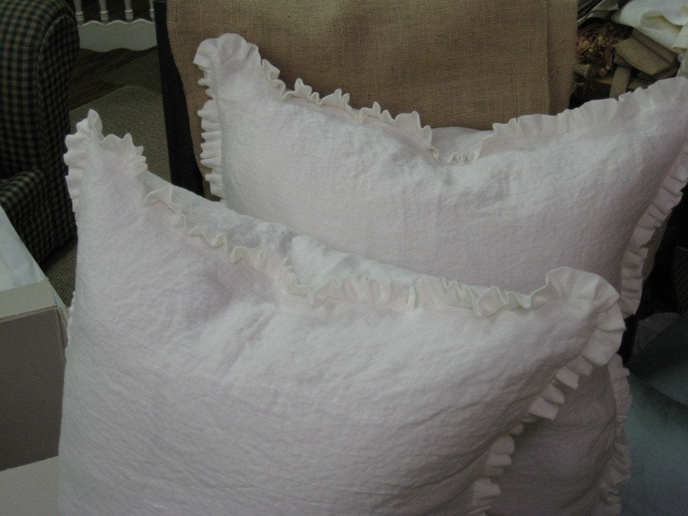 "Washed Linen Small Ruffle Euro Sham-1"" Ruffled Edge-Pillow Cover Only---Zip Closure"
