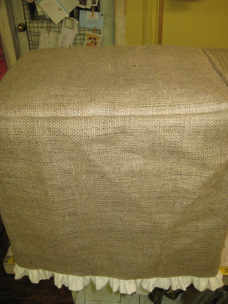 Ottoman Cube Slipcover - Natural Burlap Slipcover with Cream Ruffled Hem-Small Footstool Slipcover in Natural Burlap-Ruffled Slipcover