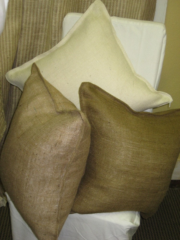 Pair of 22x22 Tailored Burlap Pillow Slips