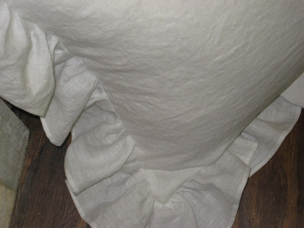"One Washed Linen Euro Sham with 4"" Slightly Ruffled Edge----One Pillow Sham-----Single Pillow Sham with Ruffled Perimeter-Zip Closure"