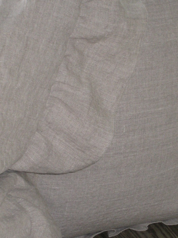 "Pair of Washed Linen Euro Shams with 4"" Ruffled Edge-Two Euro Size Ruffled Pillow Shams-26x26 Pillow Shams-Washed Linen Shams"