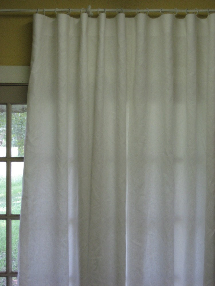 Linen Tailored Drapery Panels-2 Panels-One Pair Made to Order-Optional Linen Colors