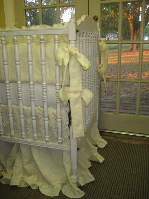 Custom Ivory Washed Linen Crib Bedding-Cotton Crochet Crib Skirt Detail-Torn Ruffle Bumpers-Sash Ties-Ruffled Storybook Style Underskirt