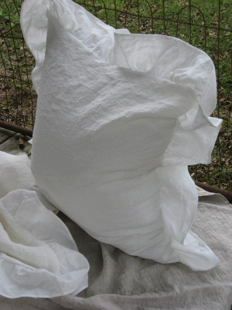 Washed Linen -Pair of  Long Ruffled Pillow Shams-- Zip Closure- Long Ruffles - Made to Order Ruffled Pillow Shams