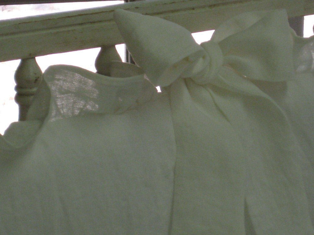 "Crib Bedding in Washed White Handkerchief Linen -2"" Ruffled Crib Bumpers-Sash Ties-Extra Long Gathered Crib Skirt"