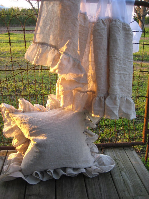 "Washed Oatmeal Lightweight Linen Crib Skirt and 20"" Ruffled Pillow Sham-Bumperless Crib Bedding"