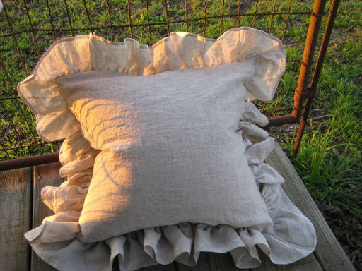 "Washed Oatmeal Linen Ruffled Pillow Shams-20""x20"" Plus the Long Ruffled Edge---One Pair of Pillow Shams"