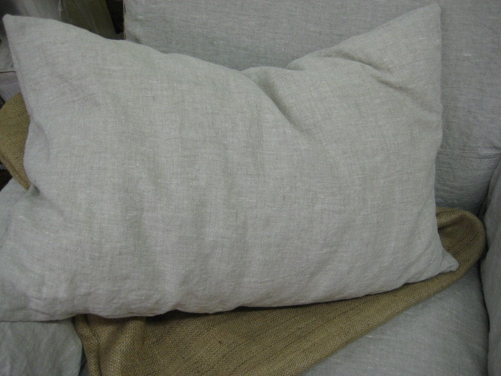 One Pair Washed Linen Simple Shams- Pillow Sham Squares--Two Pillow Shams--Optional Sizes Available