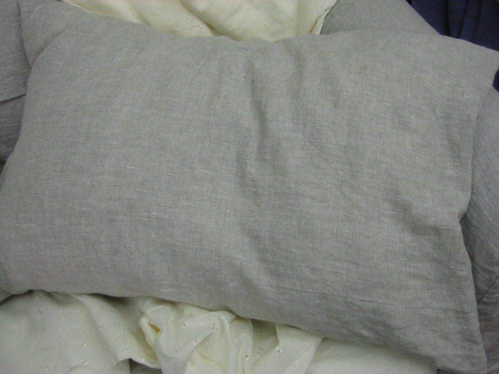 One Pair-Washed White Linen Simple Shams - Standard Bed Pillow Size Shams