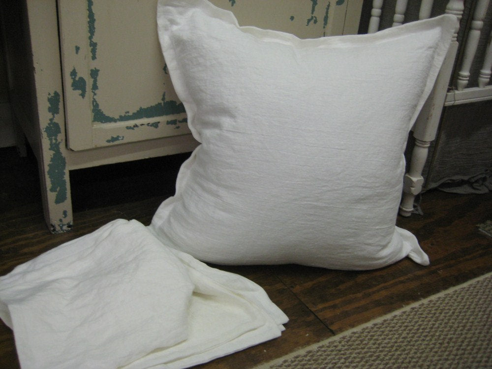 2 Washed Linen Tailored Pillow Euro Shams-Bright White or Vintage White Washed Linen