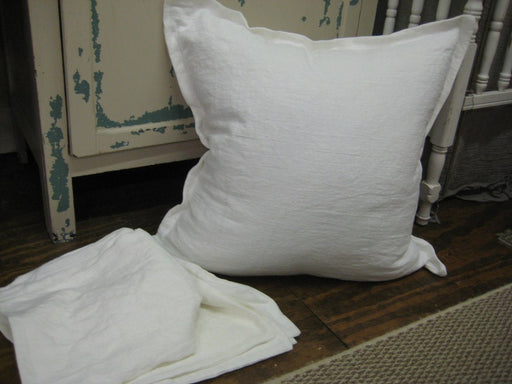 4 Washed White Linen Tailored Pillow Shams-4 Washed Linen Pillow Covers-Euro Size-Bright White Washed Linen Heavy Weight