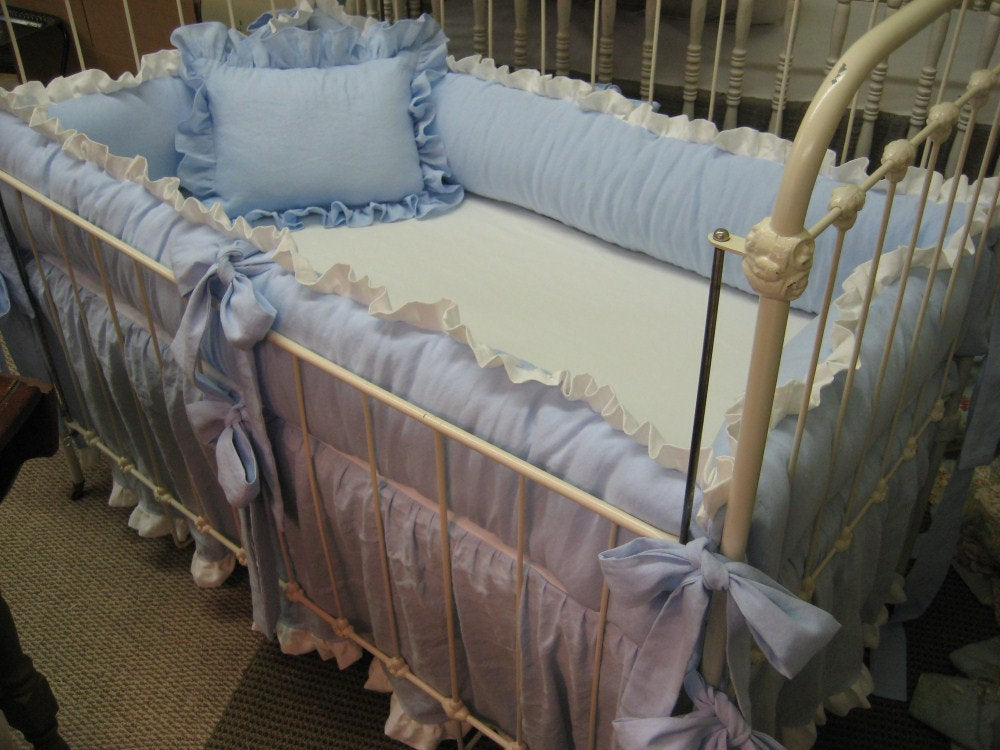 Ruffled Crib Bedding in Azure Blue and White-Crib Bumpers-Crib Skirt-Crib Pillow