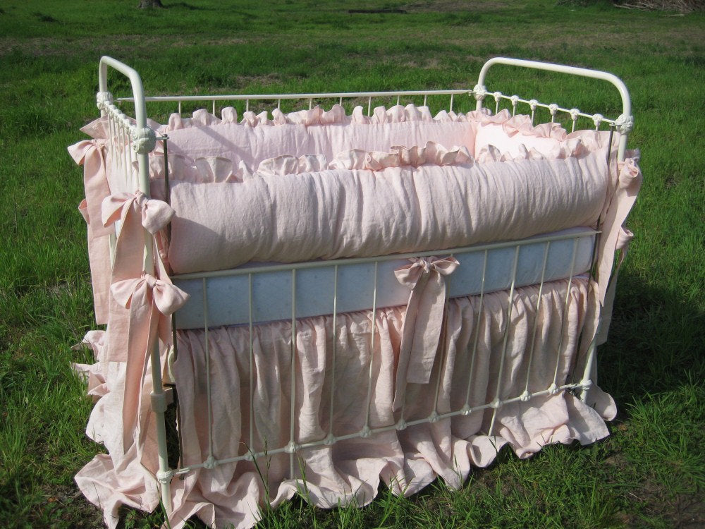 "Ballet  Pink Handkerchief  Linen 2"" Ruffled Nursery Bedding - Sash Ties - Extra Long Storybook Crib Skirt"