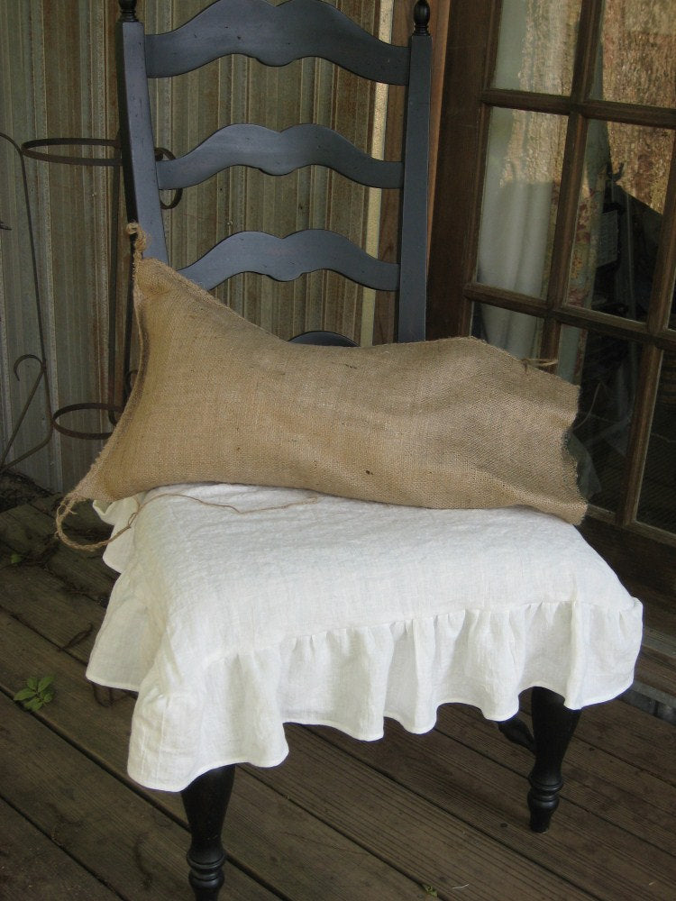Pair of Washed Linen Ruffled Chair Seat Slipcovers in Vintage White-One Piece Ruffled Chair Seat Slipcover in Washed Linen