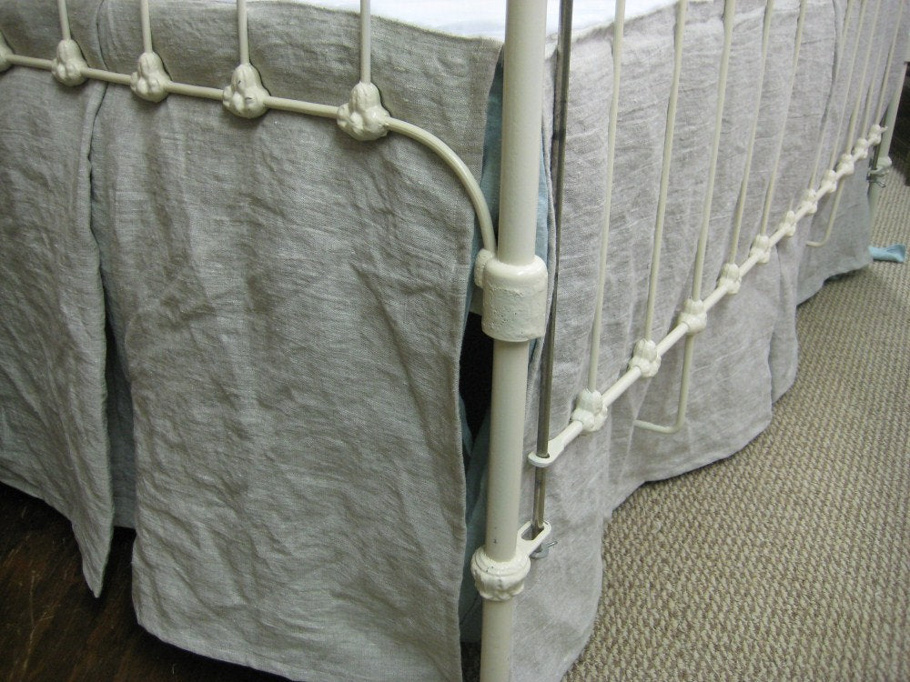 Tailored Crib Skirt in Washed Linen-Single Pleat Crib Skirt- Inverted Box Style Pleat Crib Skirt-Baby Boy Bedding-Baby Girl Tailored Bedding