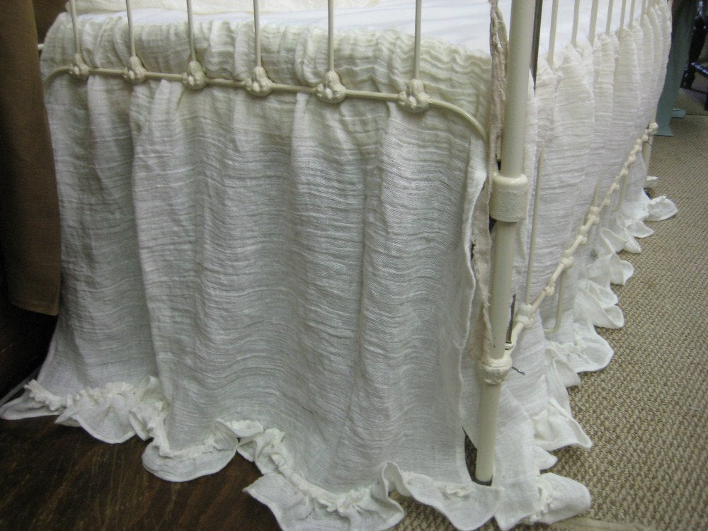 Ruffled Nursery Bedding - Washed Linen - Open Weave Vintage White - Ruffled Bumpers - Ruffled Crib Skirt - Custom Crib Linens
