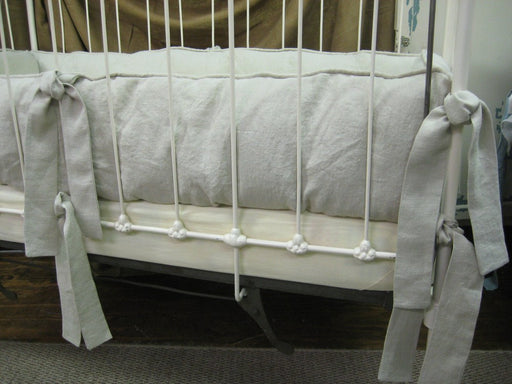 Washed Linen Casual Tailored Crib Bumpers-Bumper Covers and Removable Inserts Only-Covered Cording or Flange Top Detail-Standard Ties