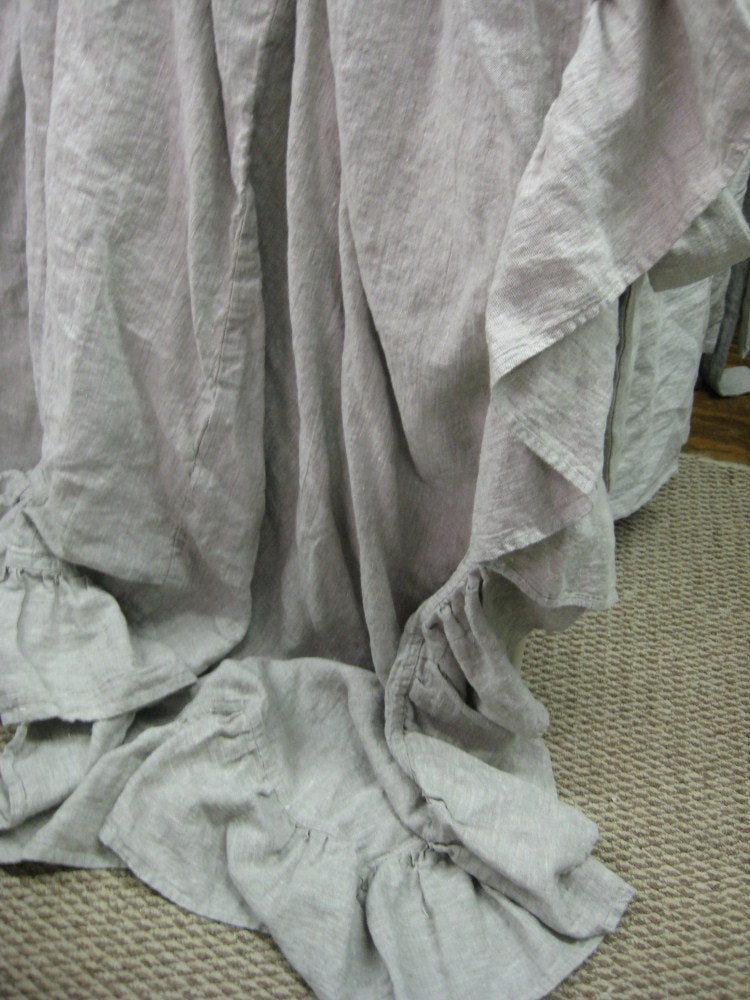 Ruffled Washed Linen Coverlet-Long Ruffled Bed Coverlet-Twin-Full-Queen-King--Neutral Linen Bedding