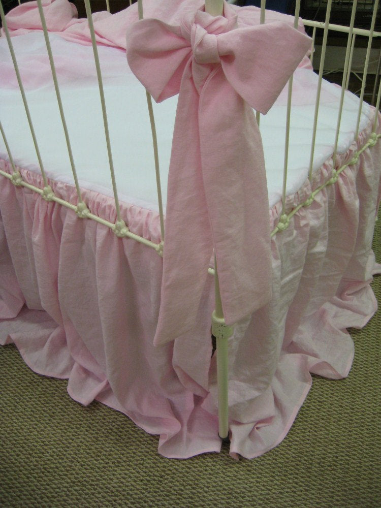 Washed Linen Storybook Style Crib Skirt, Ruffled Duvet, and Decorative Extra Long Crib Bows/Sashes-Your Linen Color-Shown In Petal Pink