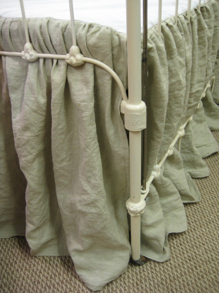 Tailored Crib Bedding in Washed Linen/Gathered Crib Skirt Option-Natural Flax Washed Linen