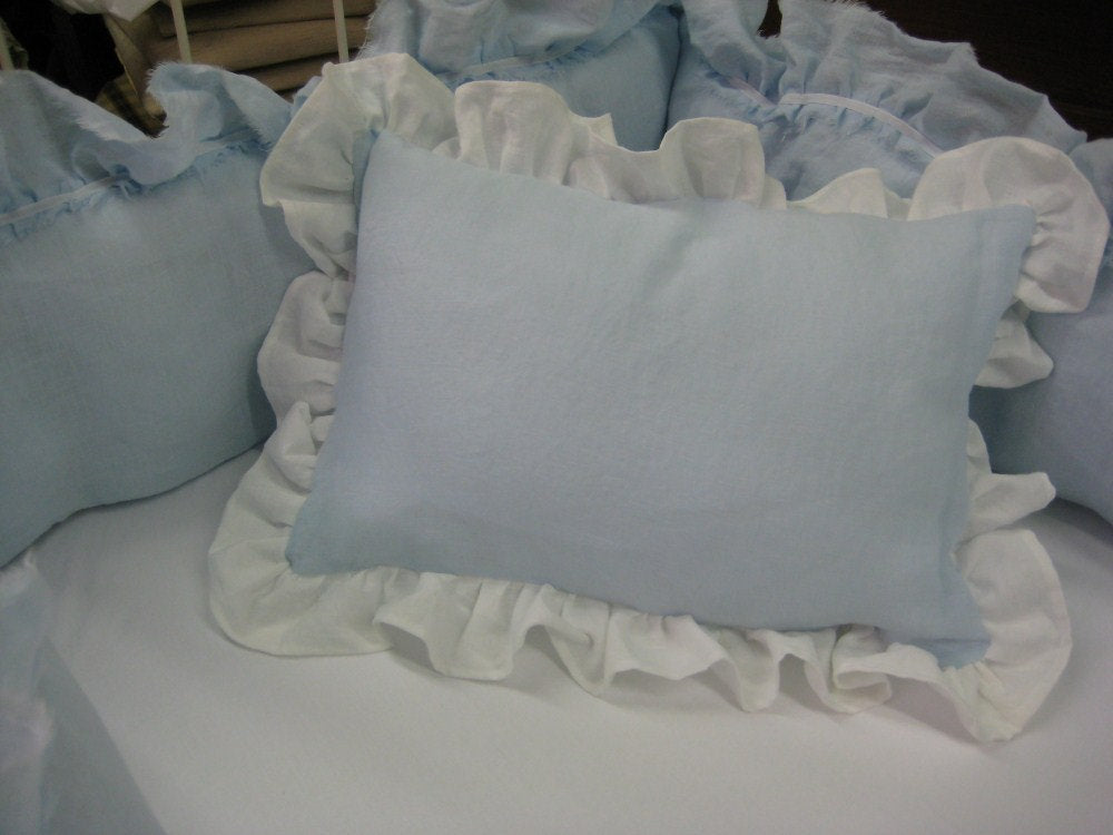 Floral Crib Pillow -Solid Linen Crib Pillow-Zip Closure Allows for Monogram -Includes Removable Pillow Insert Form