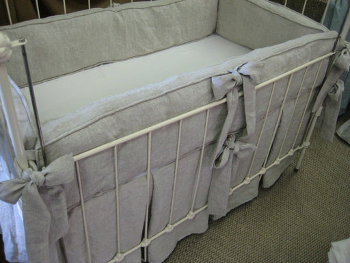 Washed Linen Tailored Crib Bedding-Boxed Bumpers and Pleated Crib Skirt