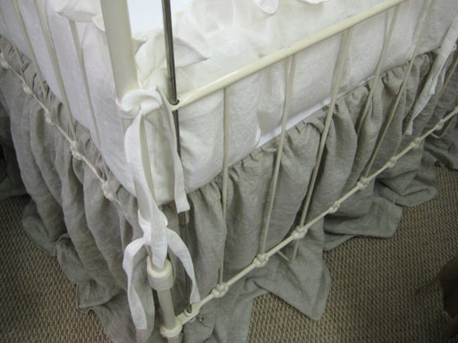 "Washed Linen 2"" Ruffled Crib Bedding with Small Ties-Classic Ruffled Crib Bumpers and Gathered Crib Skirt-Your Choice Linen Colors"